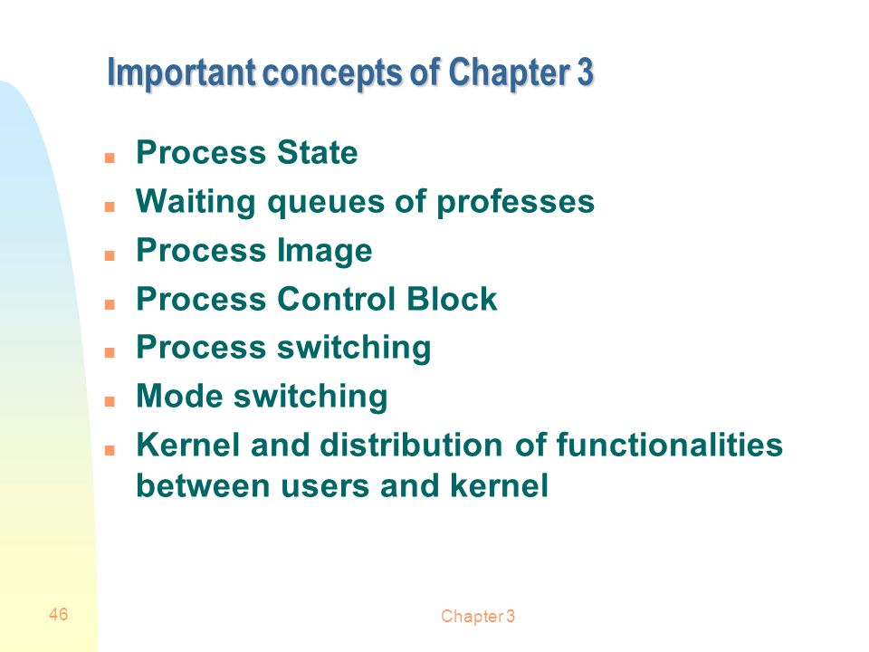Important concepts of Chapter 3