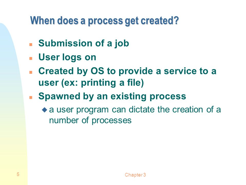 When does a process get created