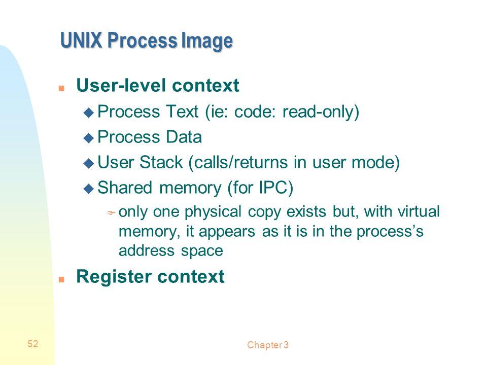 UNIX Process Image User-level context Register context
