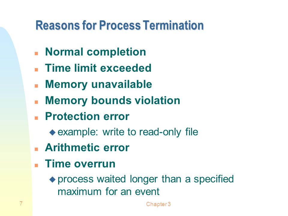 Reasons for Process Termination