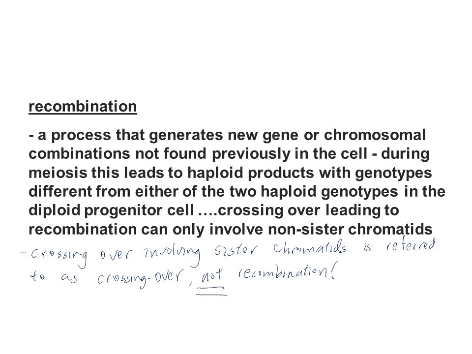 recombination - a process that generates new gene or chromosomal. combinations not found previously in the cell - during.