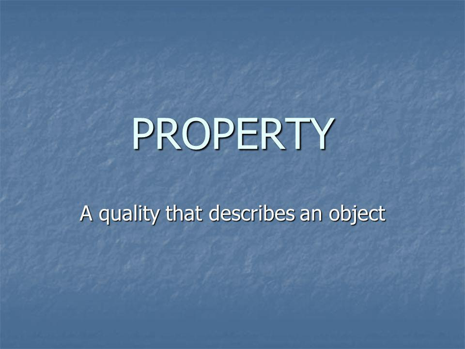 A quality that describes an object