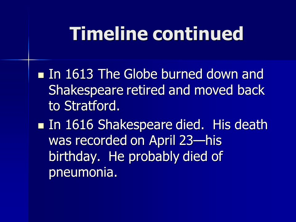 Timeline continued In 1613 The Globe burned down and Shakespeare retired and moved back to Stratford.