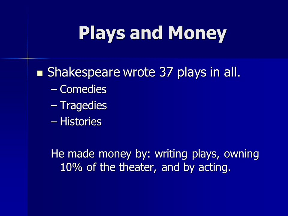 Plays and Money Shakespeare wrote 37 plays in all. Comedies Tragedies