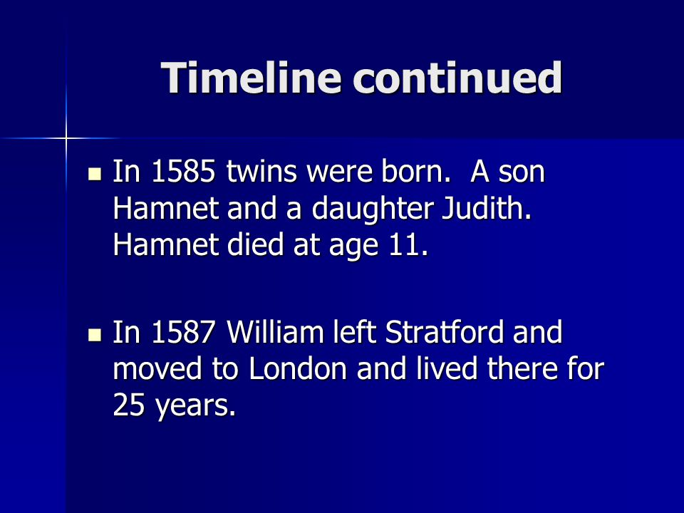 Timeline continued In 1585 twins were born. A son Hamnet and a daughter Judith. Hamnet died at age 11.