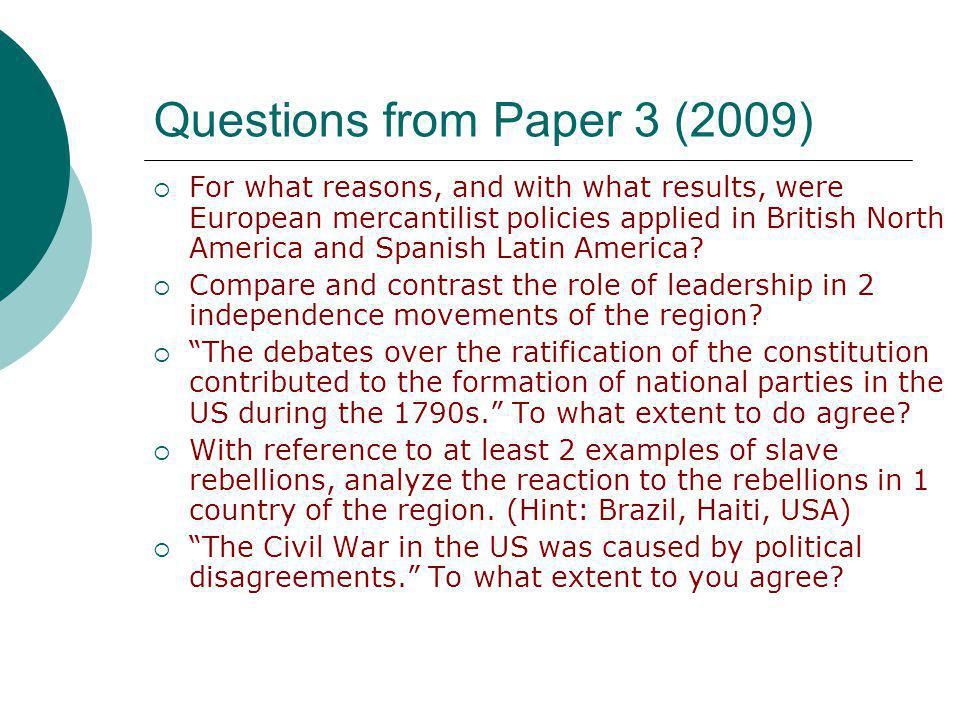 Questions from Paper 3 (2009)