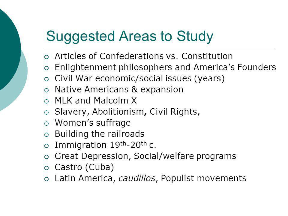 Suggested Areas to Study