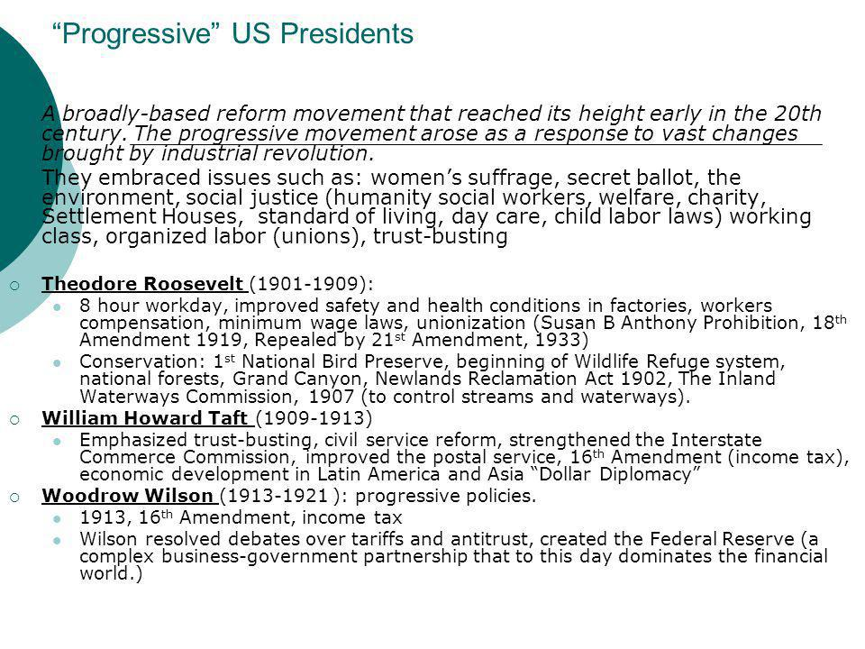 Progressive US Presidents