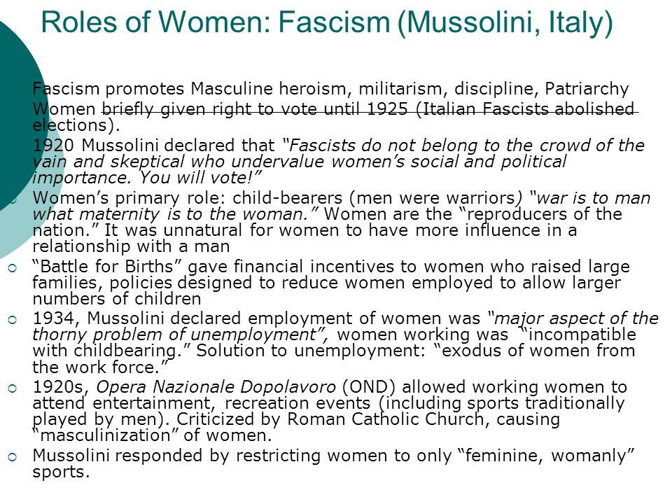 Roles of Women: Fascism (Mussolini, Italy)