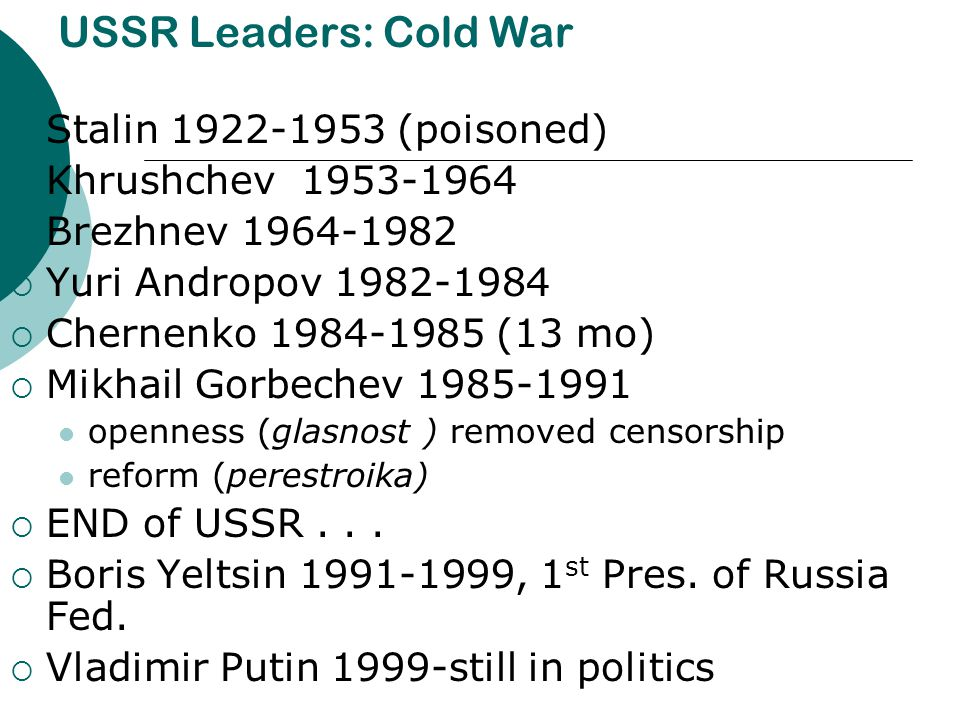 USSR Leaders: Cold War Stalin 1922-1953 (poisoned)