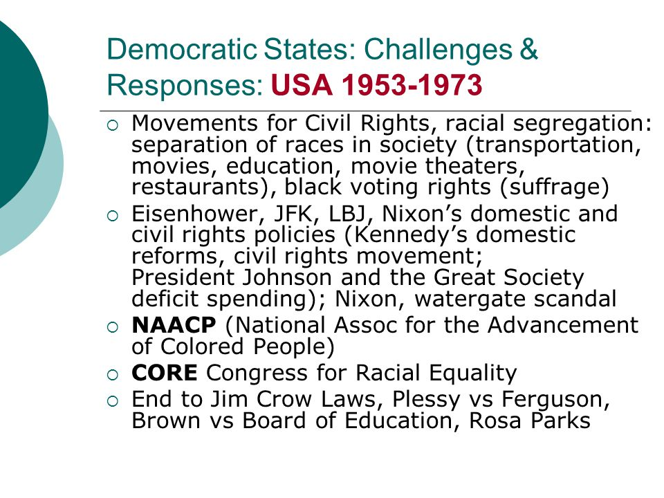 Democratic States: Challenges & Responses: USA 1953-1973