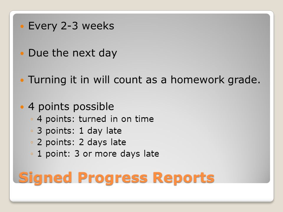 Signed Progress Reports
