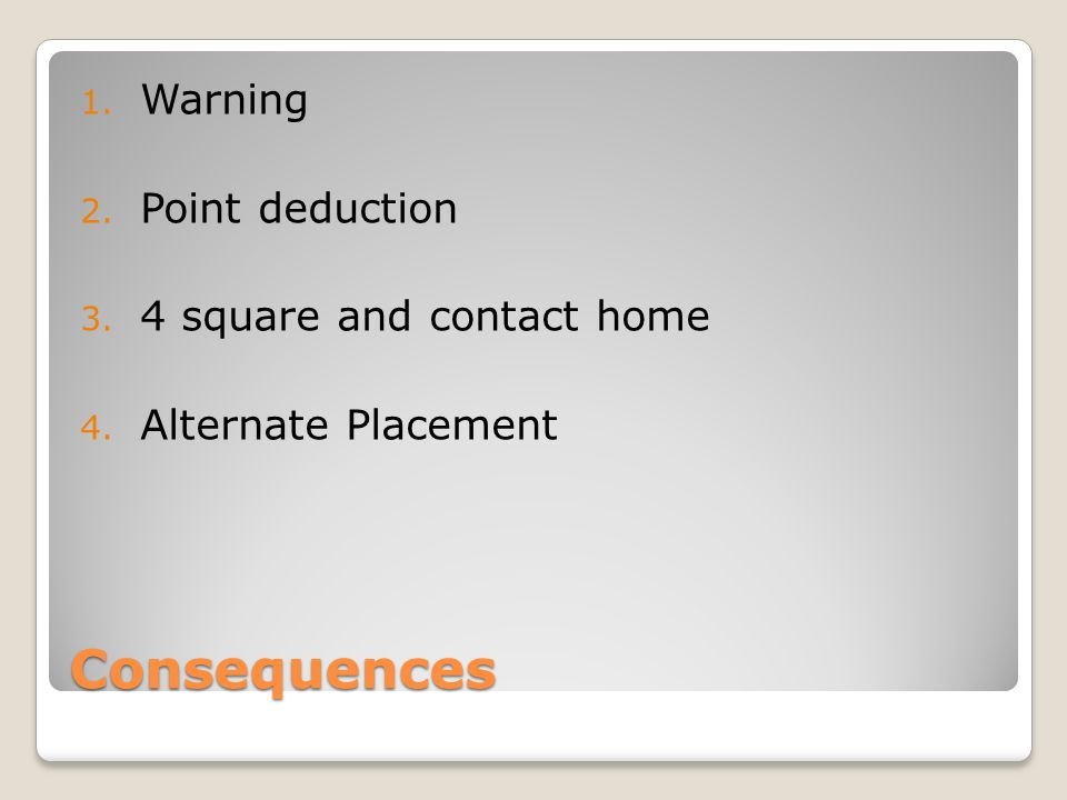 Consequences Warning Point deduction 4 square and contact home