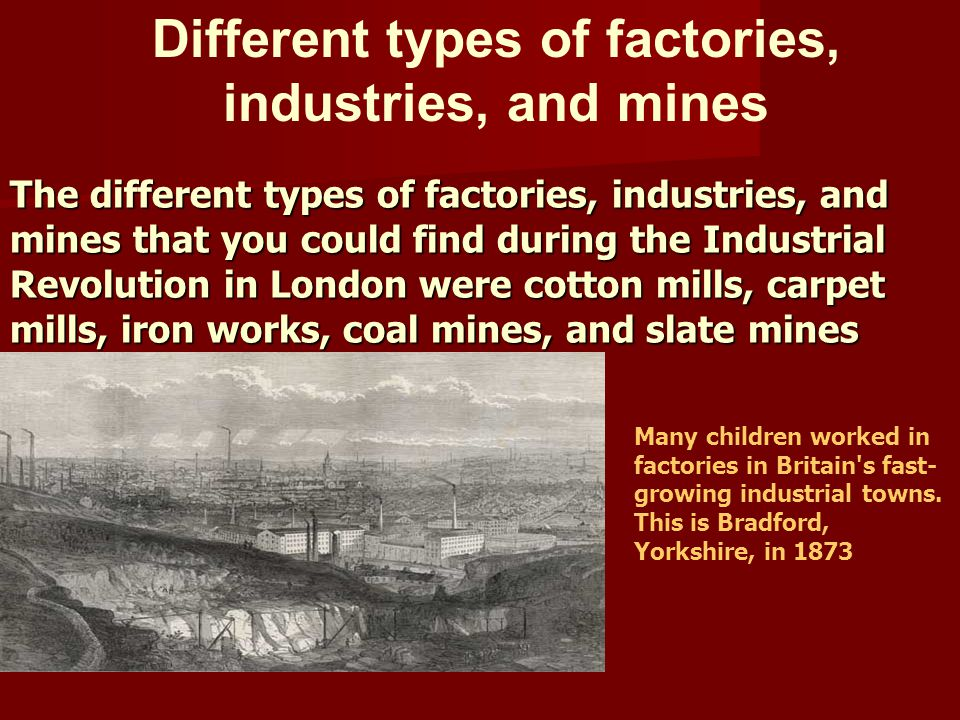Different types of factories, industries, and mines
