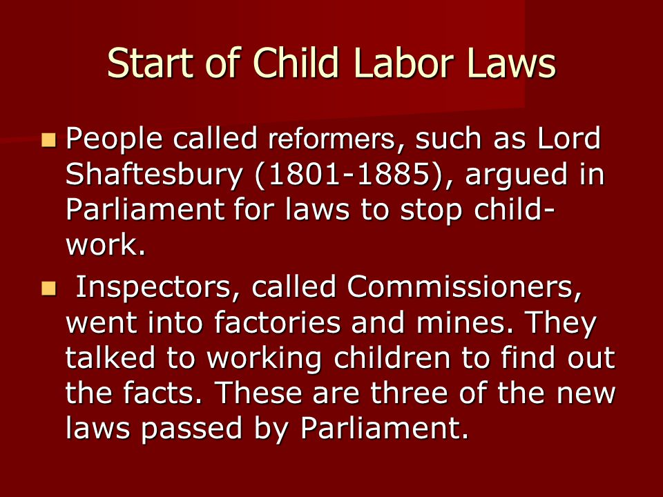 Start of Child Labor Laws