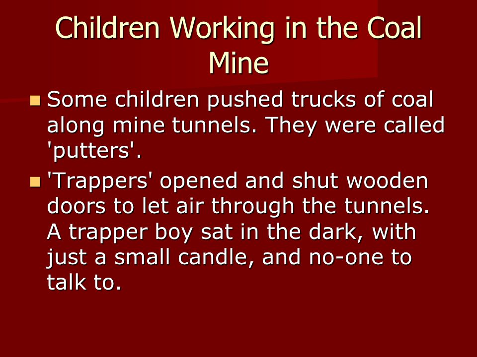 Children Working in the Coal Mine