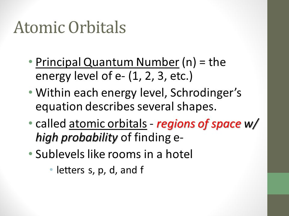 Atomic Orbitals Principal Quantum Number (n) = the energy level of e- (1, 2, 3, etc.)