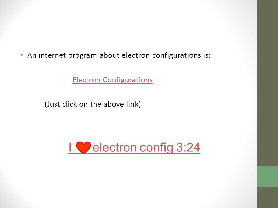 An internet program about electron configurations is: