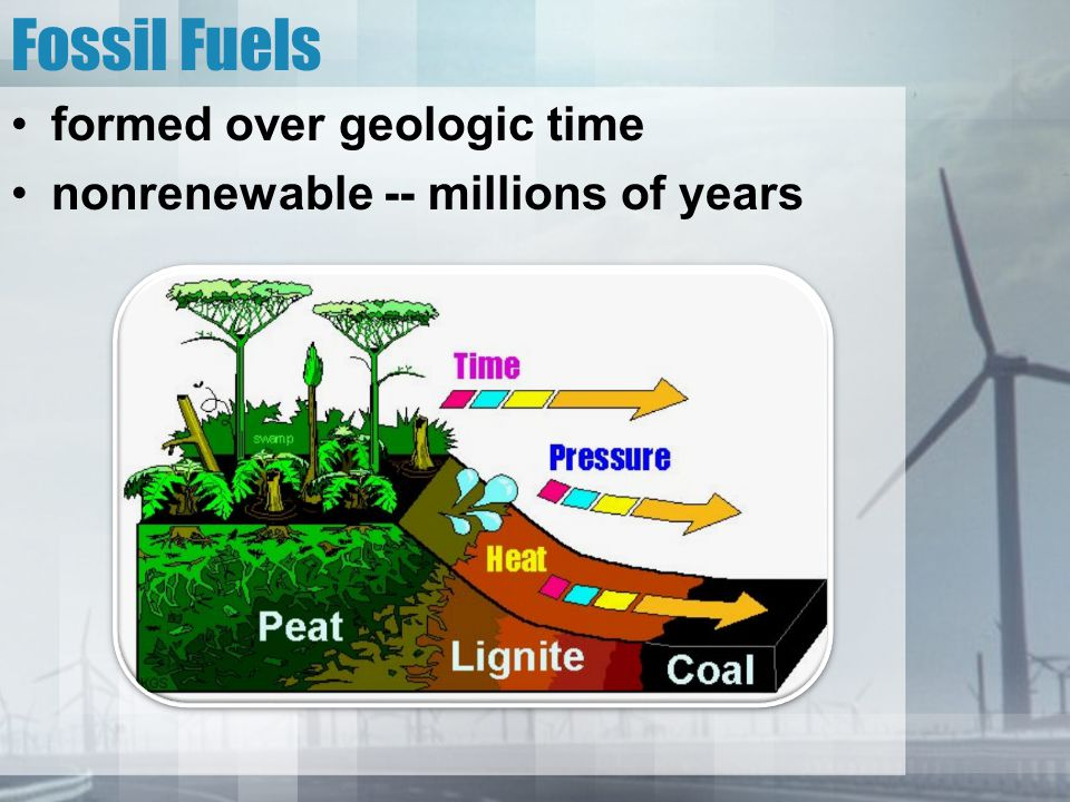 Fossil Fuels formed over geologic time