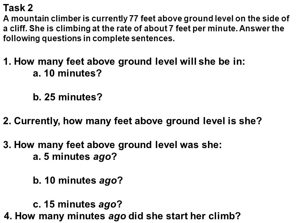 1. How many feet above ground level will she be in: a. 10 minutes