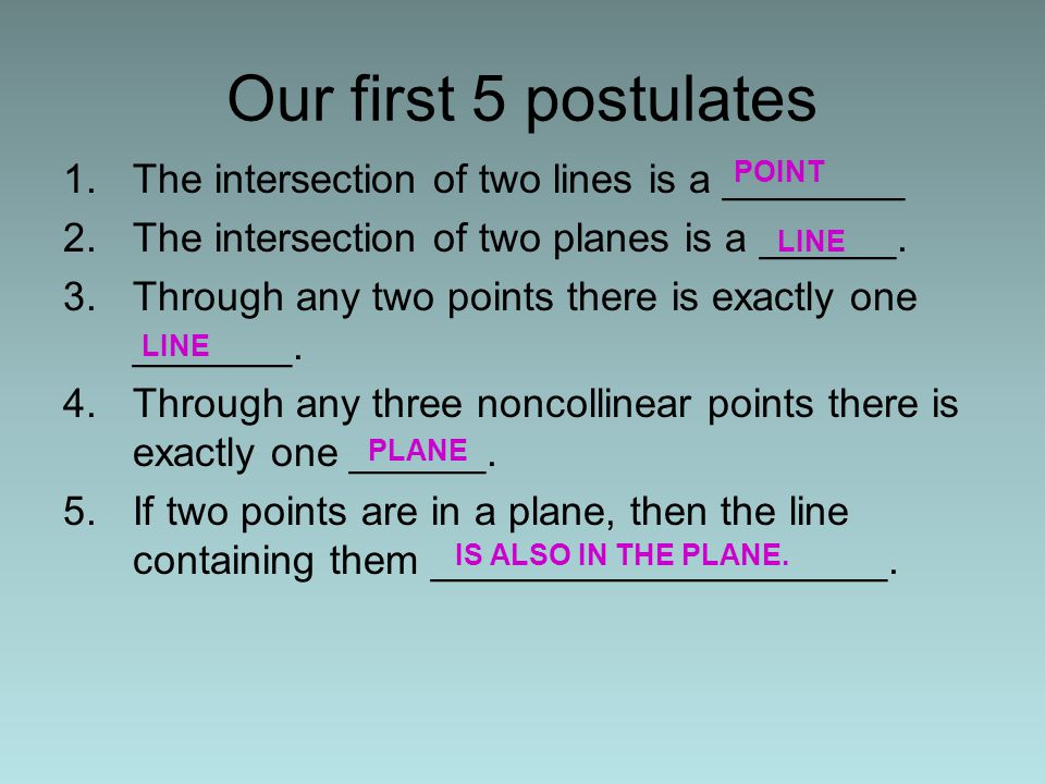 Our first 5 postulates The intersection of two lines is a ________