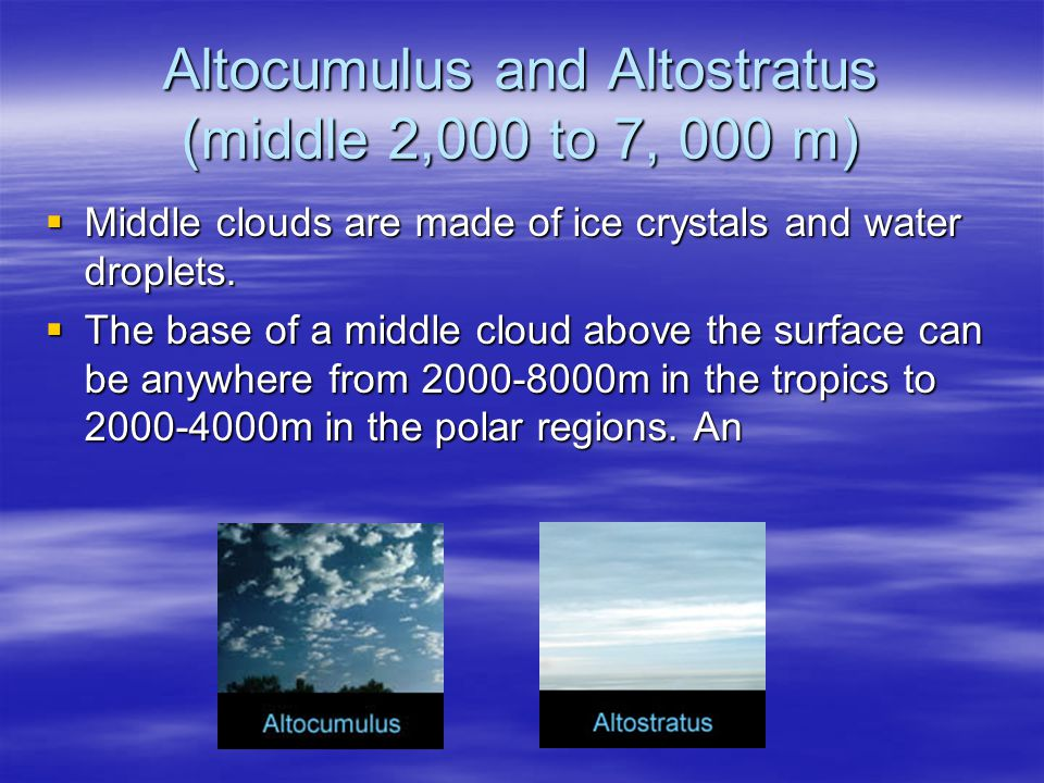 Altocumulus and Altostratus (middle 2,000 to 7, 000 m)