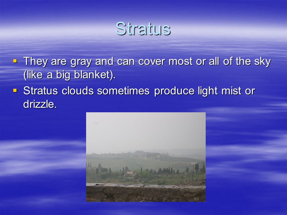 Stratus They are gray and can cover most or all of the sky (like a big blanket).