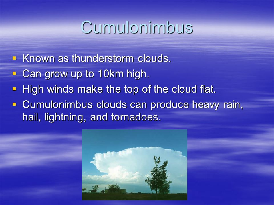 Cumulonimbus Known as thunderstorm clouds. Can grow up to 10km high.