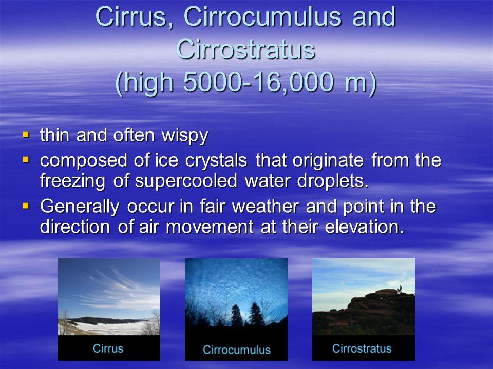Cirrus, Cirrocumulus and Cirrostratus (high 5000-16,000 m)