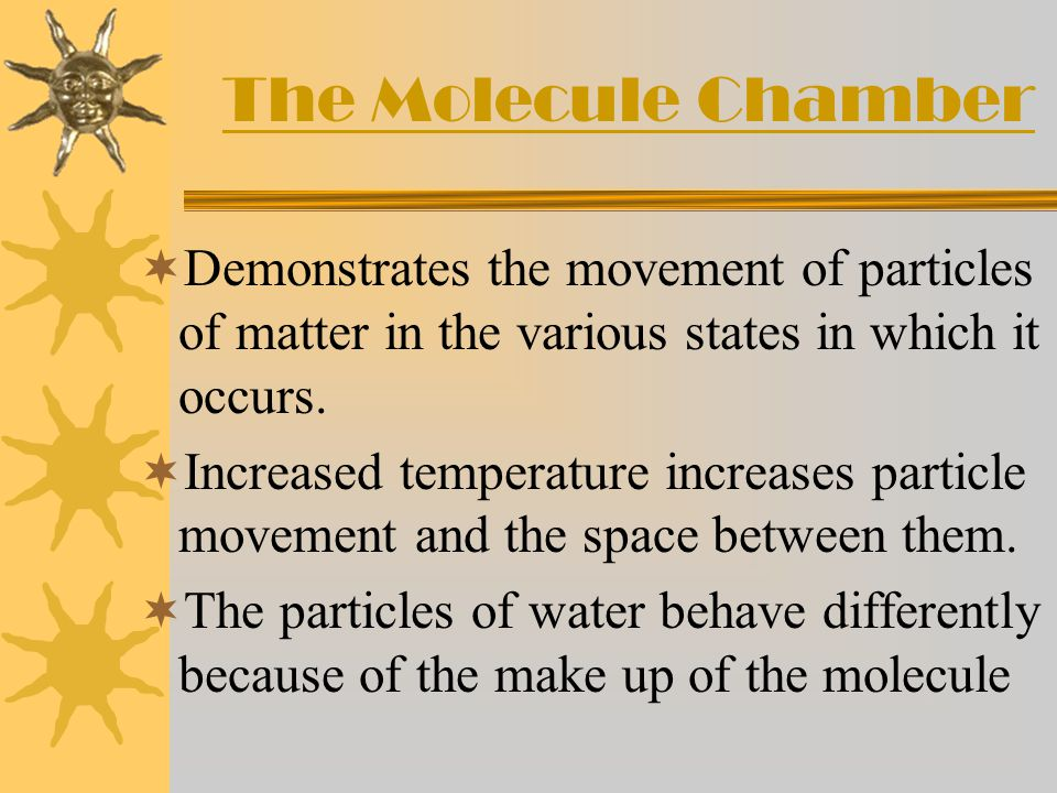 The Molecule Chamber Demonstrates the movement of particles of matter in the various states in which it occurs.