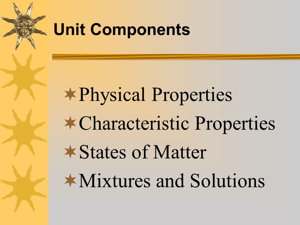 Characteristic Properties States of Matter Mixtures and Solutions
