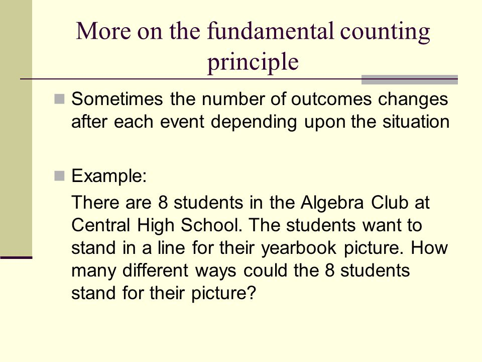 More on the fundamental counting principle