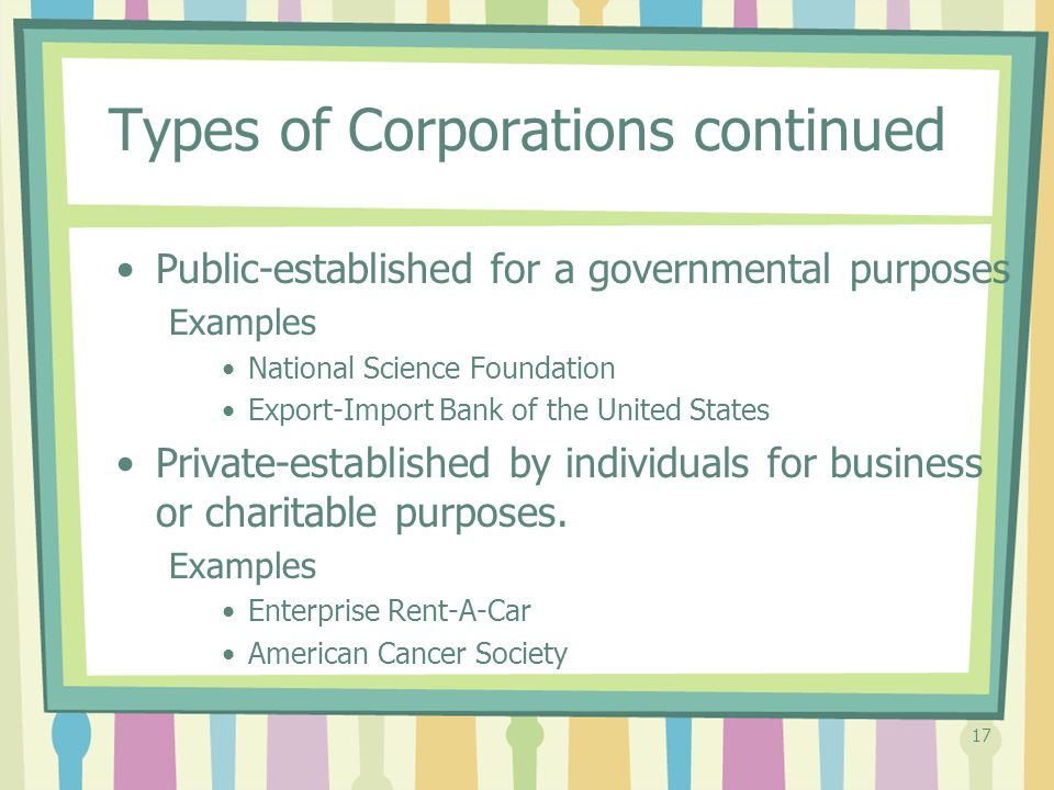Types of Corporations continued