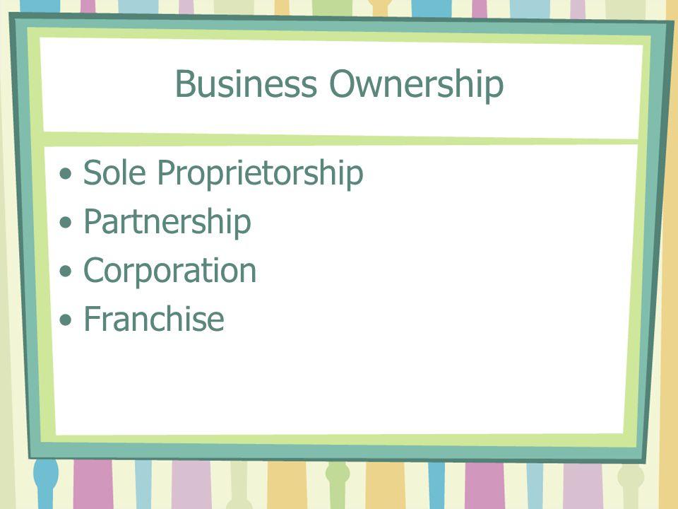 Business Ownership Sole Proprietorship Partnership Corporation