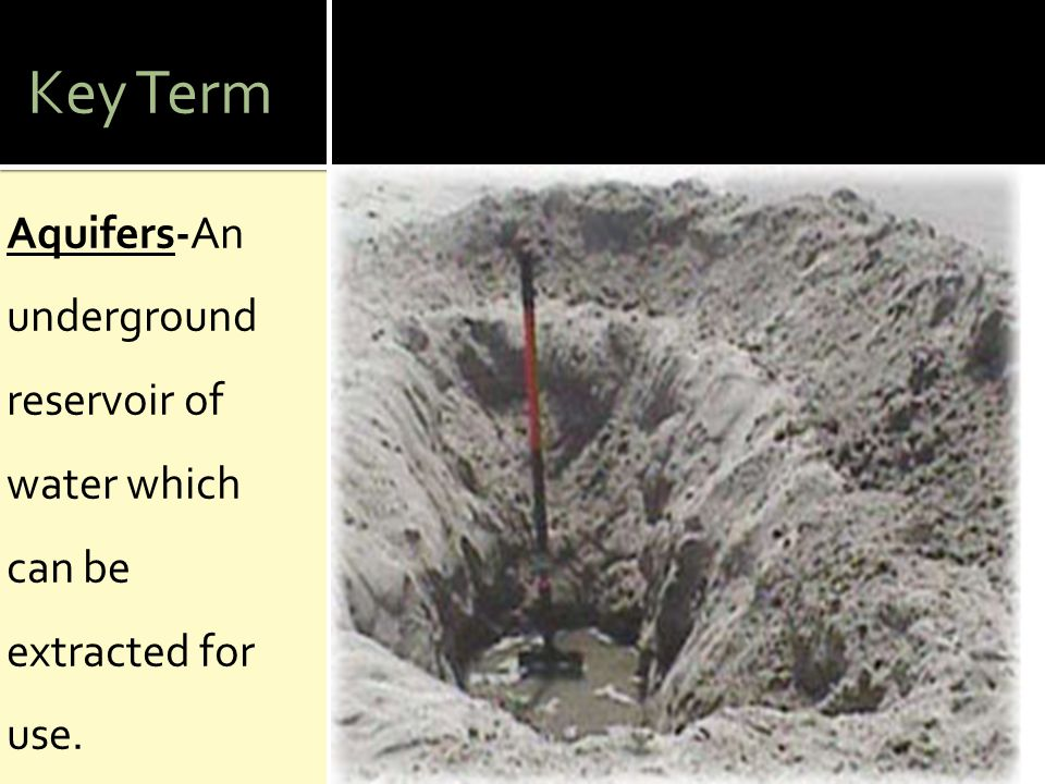 Key Term Aquifers-An underground reservoir of water which can be extracted for use.