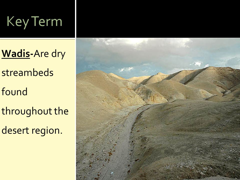 Key Term Wadis-Are dry streambeds found throughout the desert region.