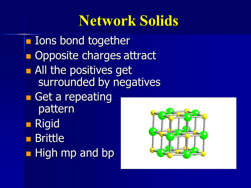 Network Solids Ions bond together Opposite charges attract