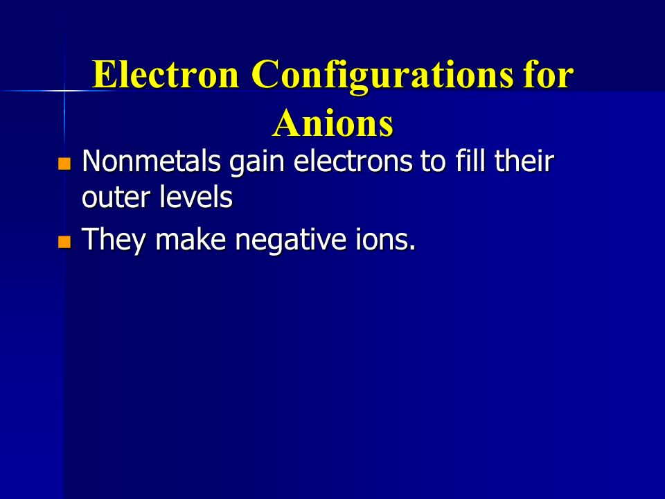 Electron Configurations for Anions
