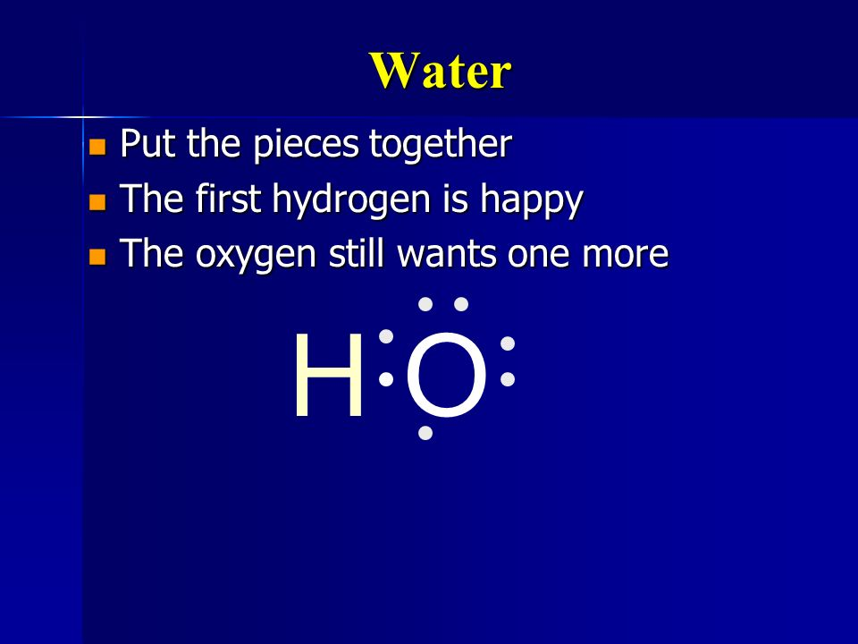 H O Water Put the pieces together The first hydrogen is happy