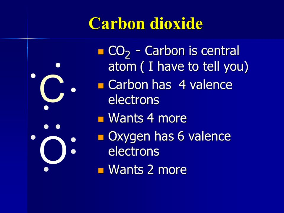 C O Carbon dioxide CO2 - Carbon is central atom ( I have to tell you)