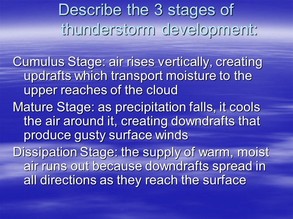 Describe the 3 stages of thunderstorm development: