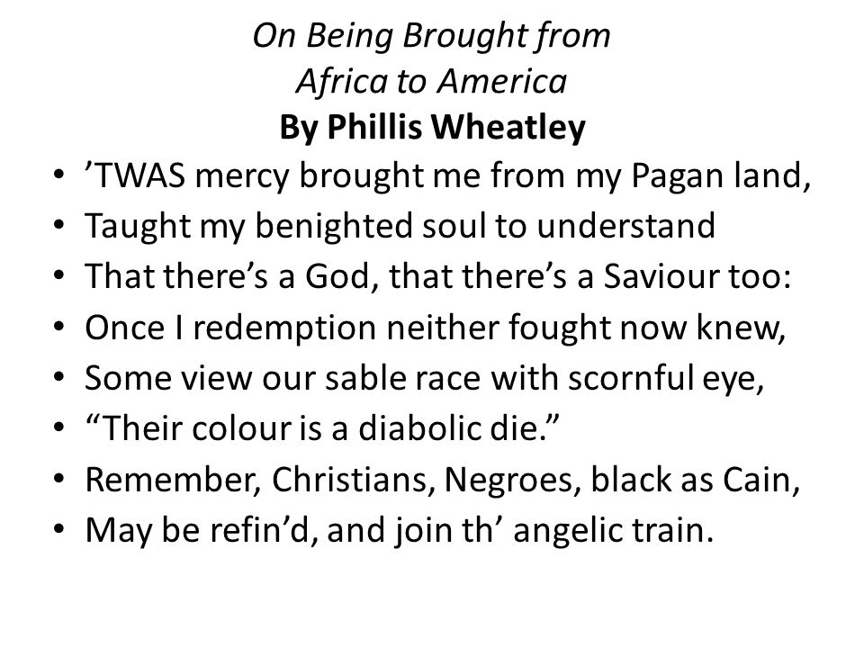 On Being Brought From Africa To Homework Academic Service: Phillis Wheatley Worksheet At Alzheimers-prions.com