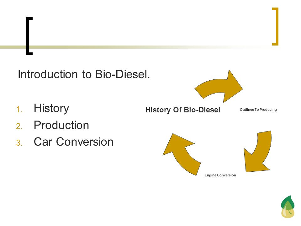 Introduction to Bio-Diesel.