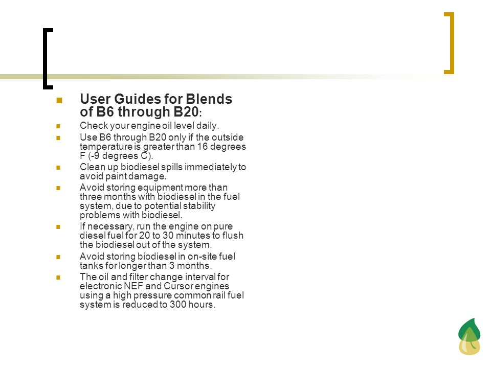 User Guides for Blends of B6 through B20:
