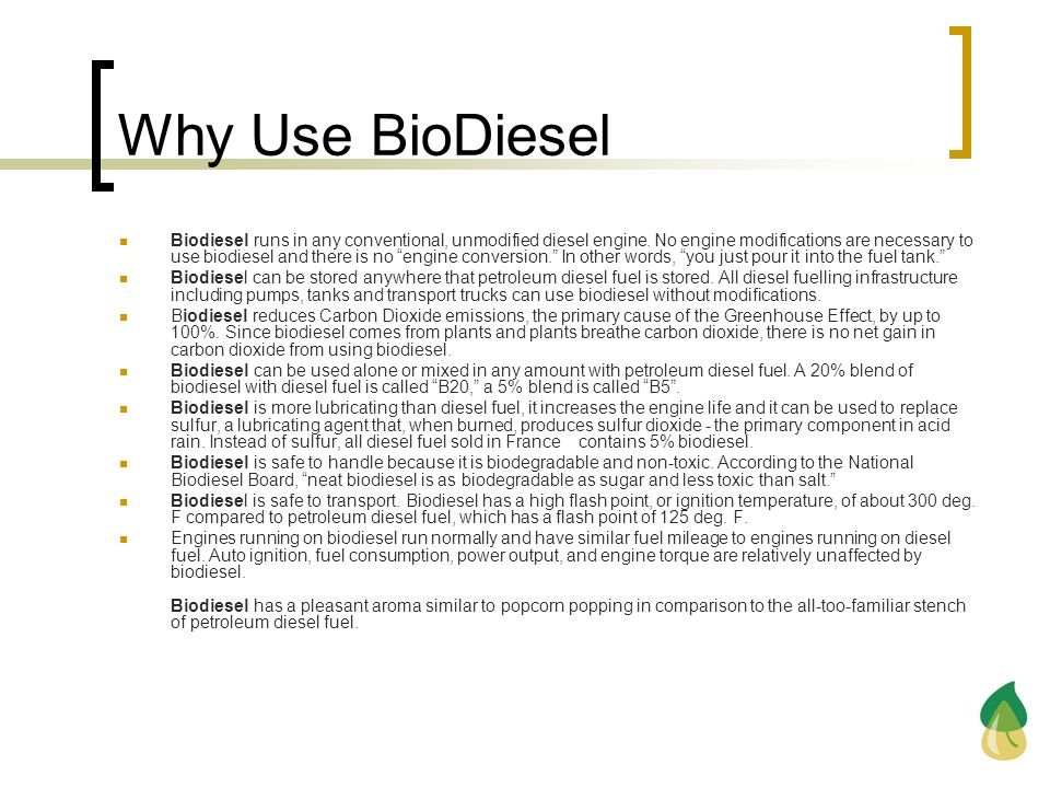 Why Use BioDiesel