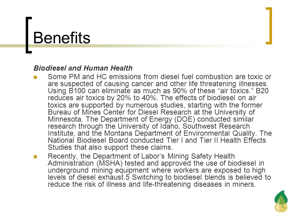 Benefits Biodiesel and Human Health