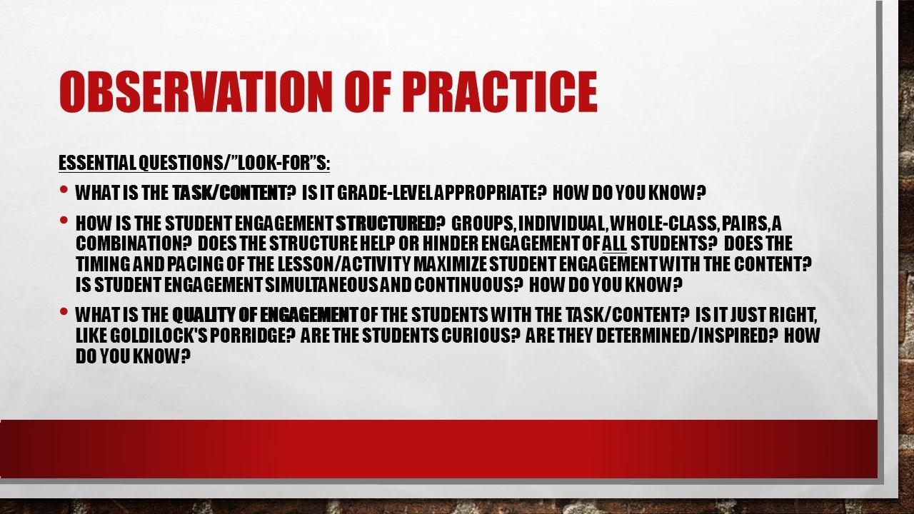 Observation of Practice