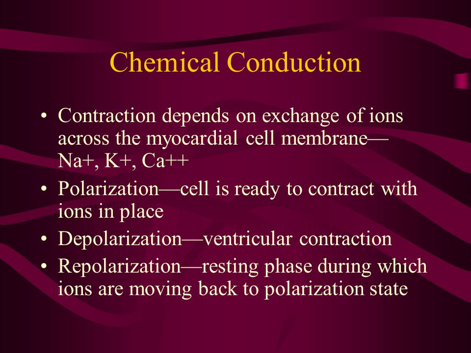 Chemical Conduction Contraction depends on exchange of ions across the myocardial cell membrane—Na+, K+, Ca++