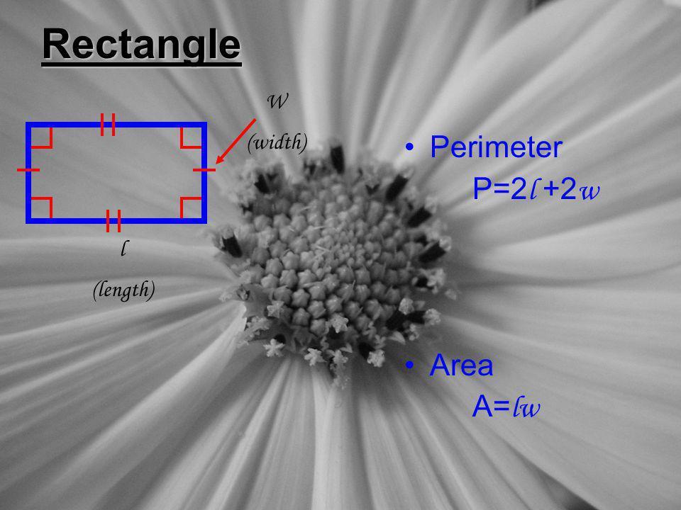 Rectangle W (width) Perimeter P=2l +2w Area A=lw l (length)