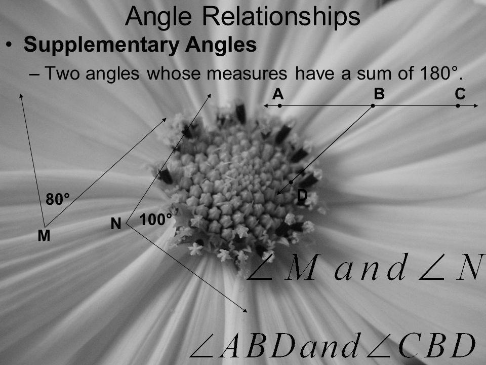 Angle Relationships Supplementary Angles